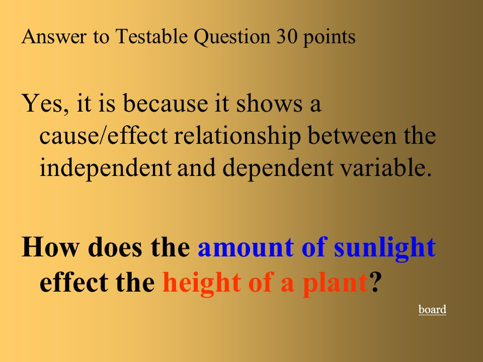 How does the amount of sunlight effect the height of a plant