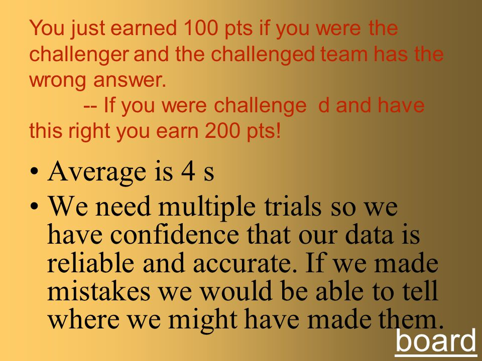 You just earned 100 pts if you were the challenger and the challenged team has the wrong answer.