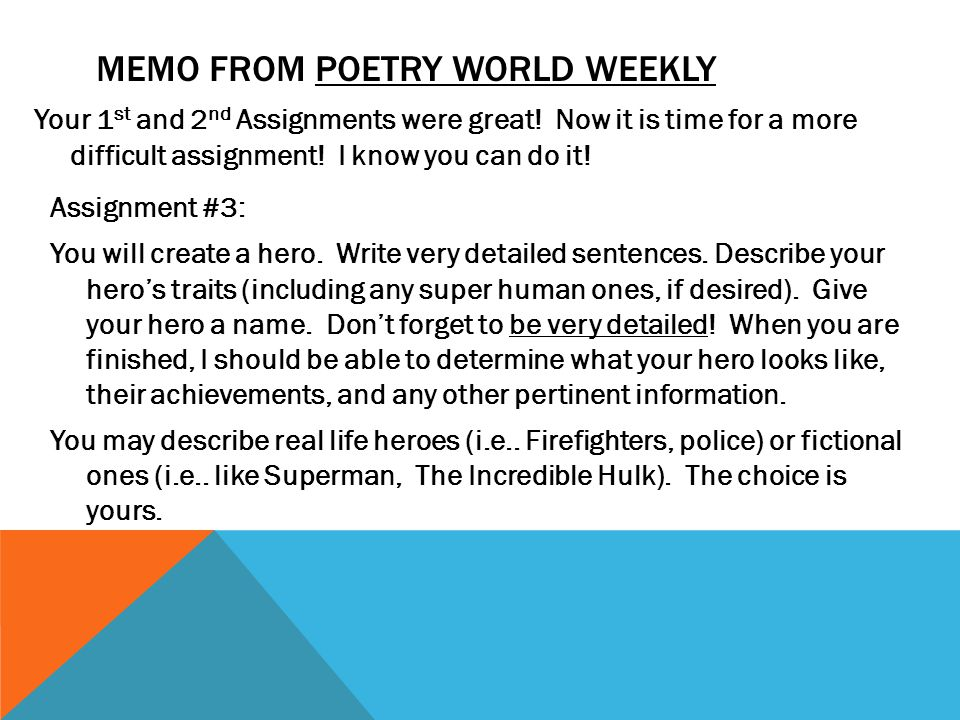 poetry assignment Poetry explications what this handout is about a poetry explication is a relatively short analysis which describes the possible meanings and relationships of the words, images, and other small units that make up a poem.