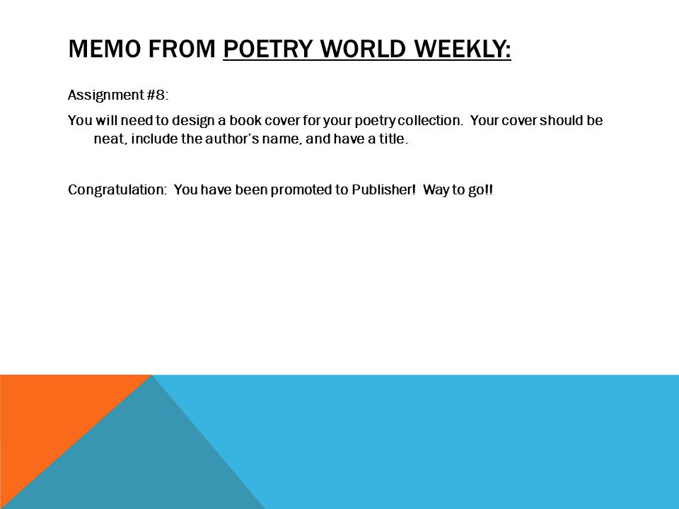 Memo from poetry world weekly: