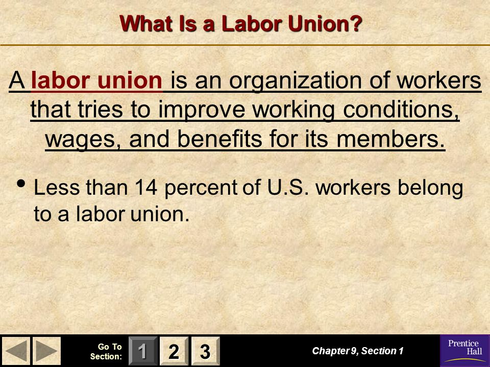 What Is a Labor Union A labor union is an organization of workers that tries to improve working conditions, wages, and benefits for its members.