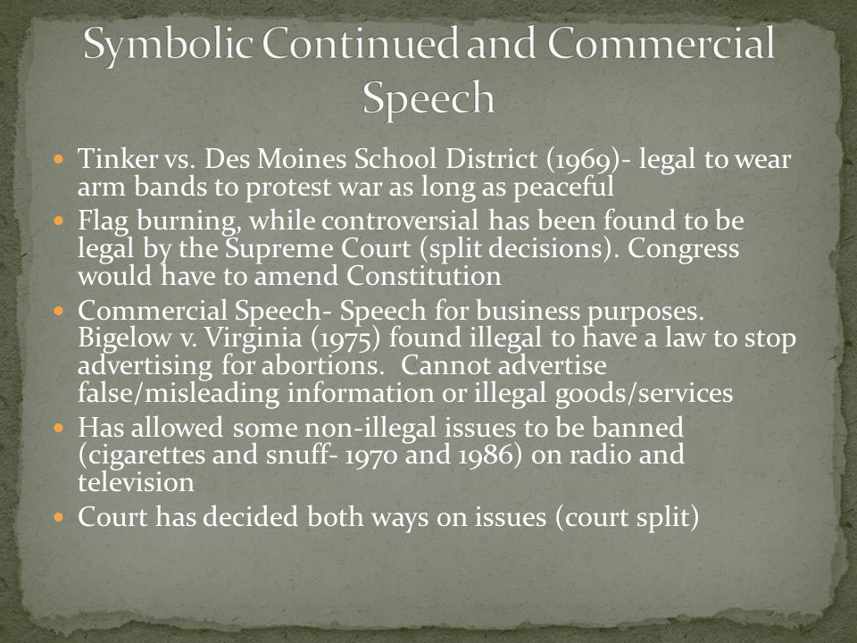 Symbolic Continued and Commercial Speech