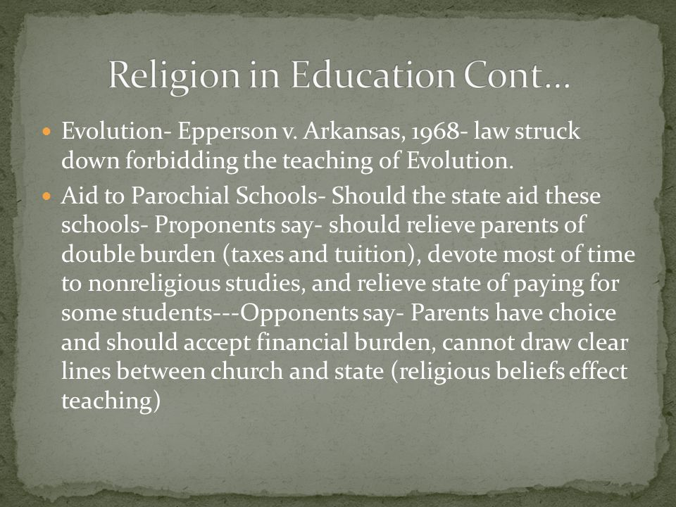 Religion in Education Cont…