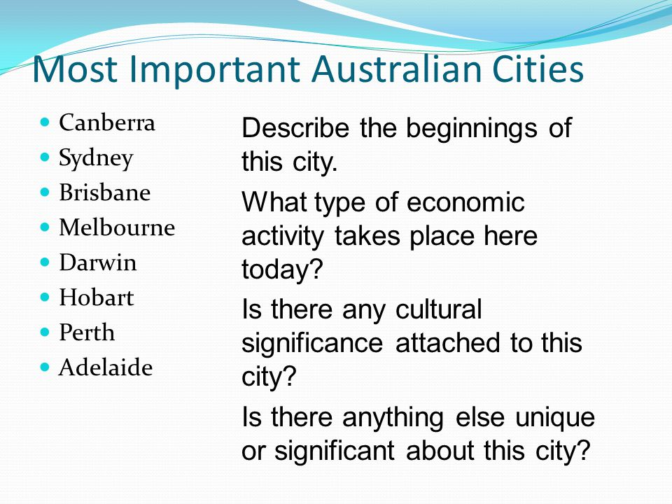 Most Important Australian Cities