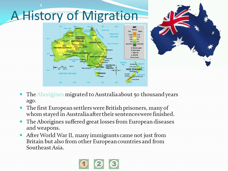 1 A History of Migration. The Aborigines migrated to Australia about 50 thousand years ago.