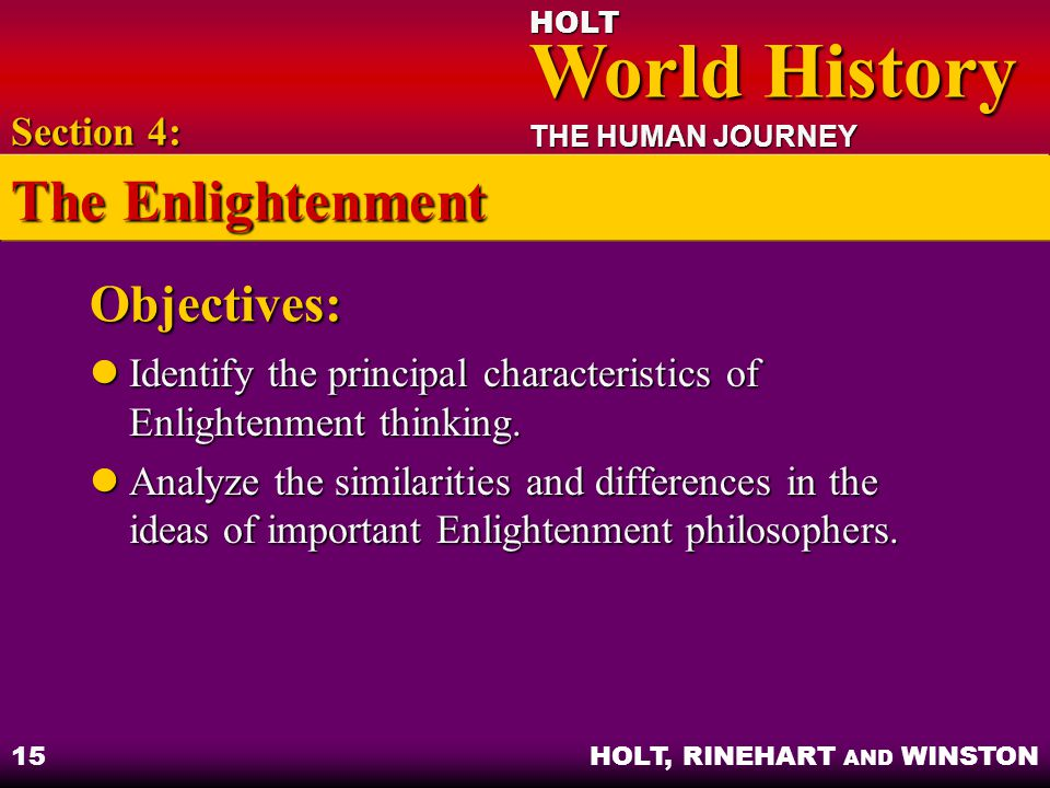 The Enlightenment Objectives: Section 4: