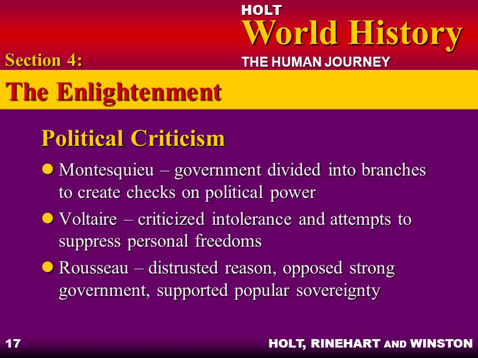 The Enlightenment Political Criticism Section 4: