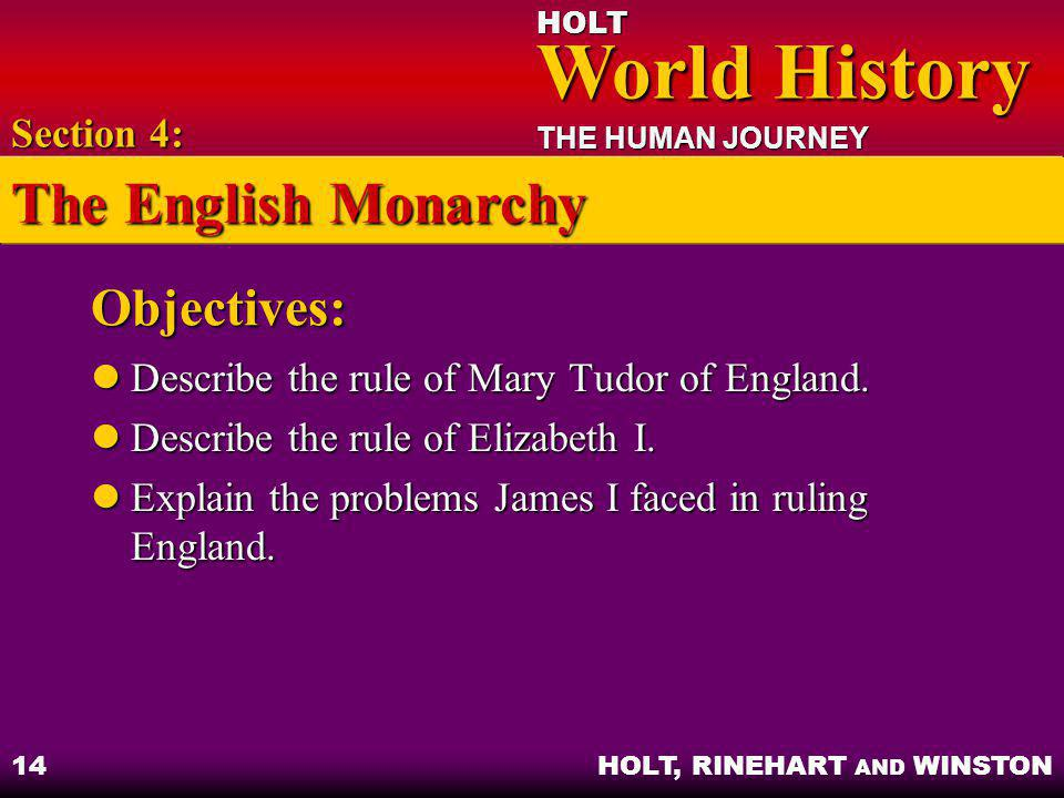 The English Monarchy Objectives: Section 4: