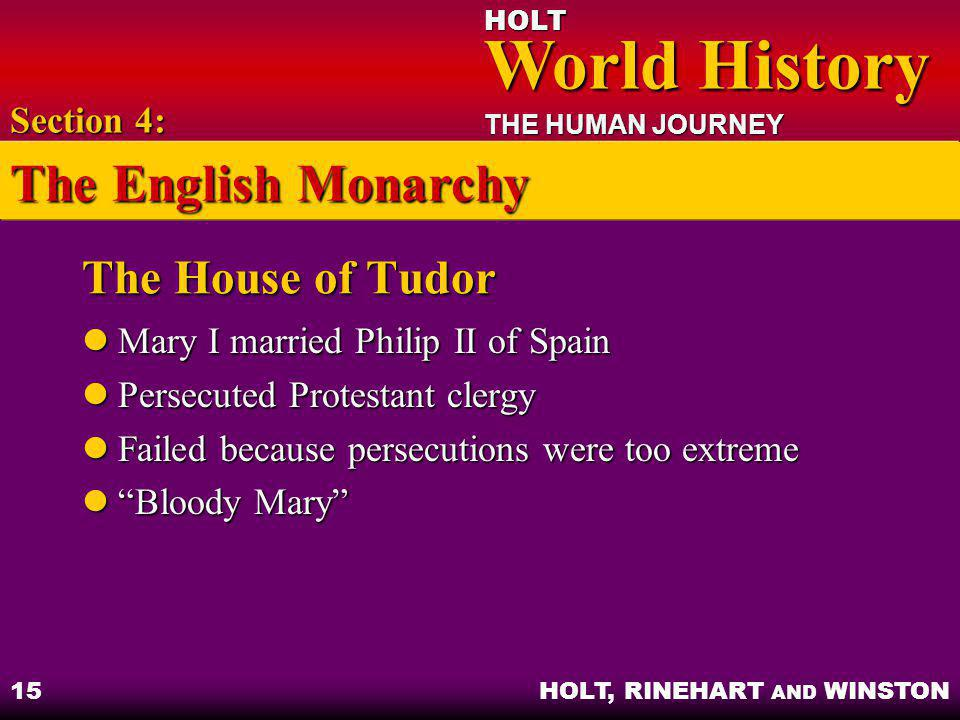 The English Monarchy The House of Tudor Section 4: