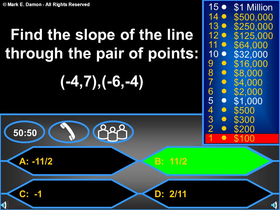 Find the slope of the line through the pair of points: