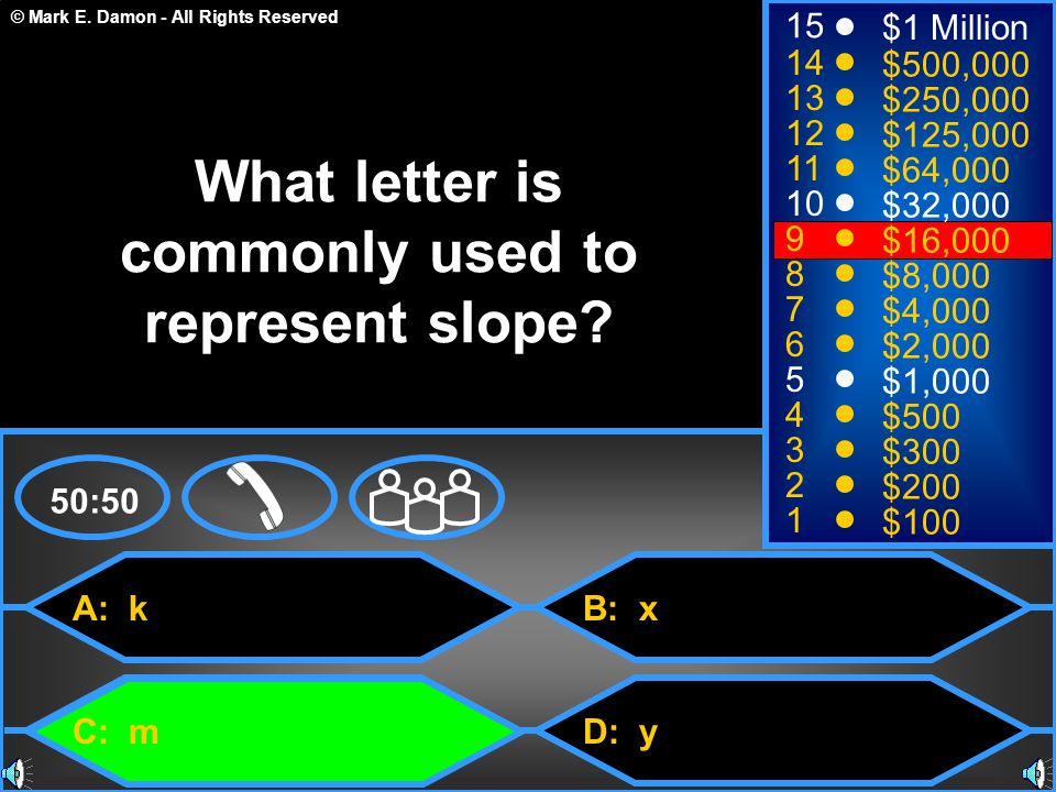 What letter is commonly used to represent slope