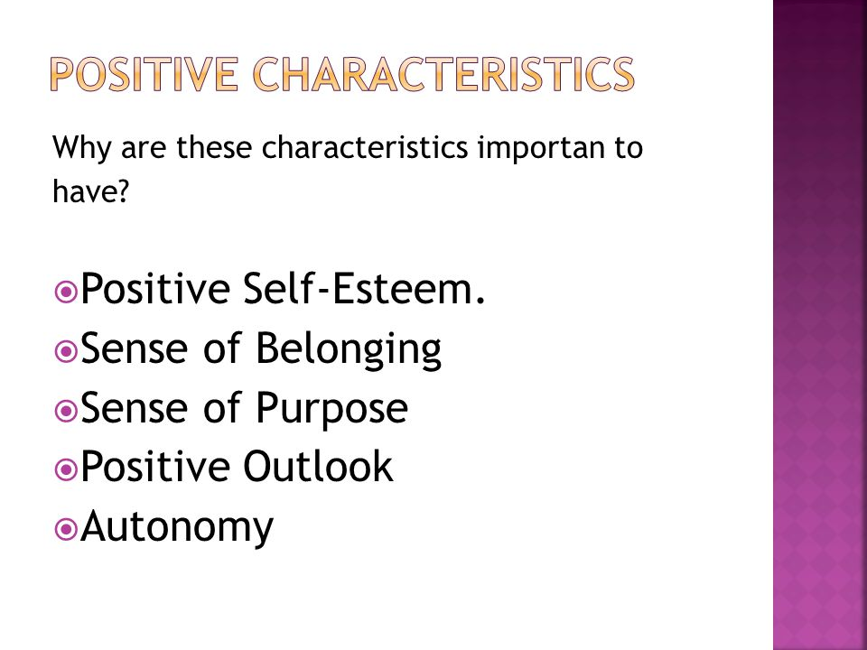 Positive Characteristics