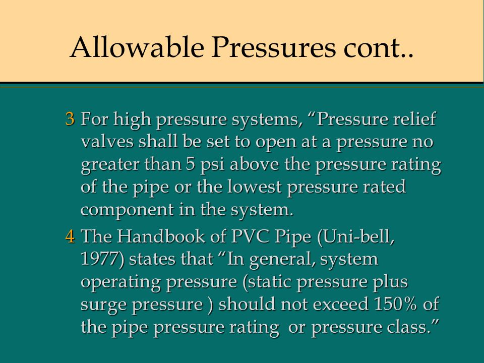 Allowable Pressures cont..