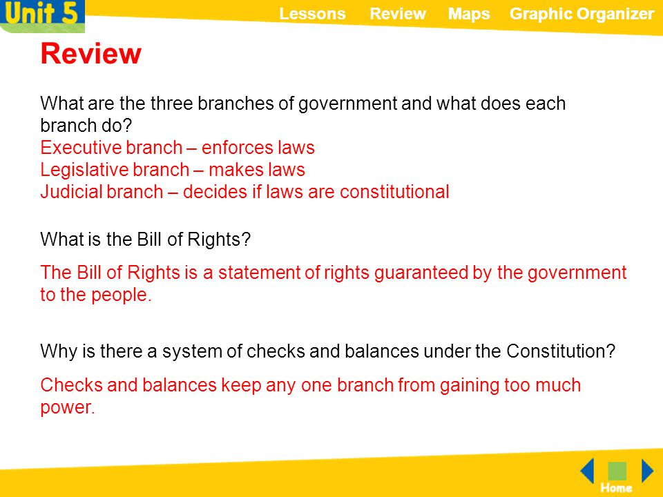 Review What are the three branches of government and what does each branch do Executive branch – enforces laws.