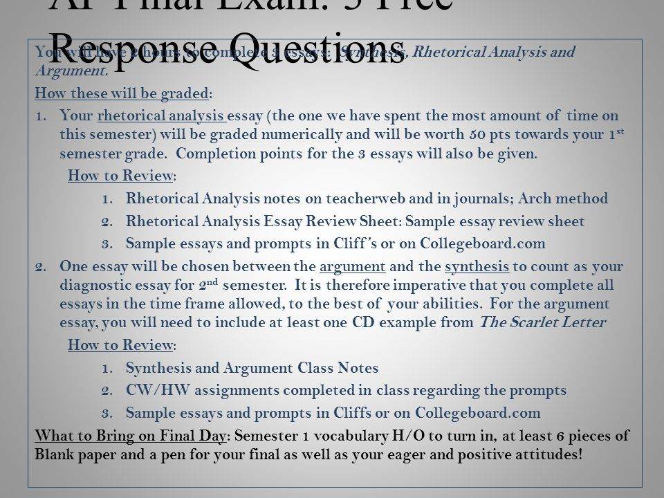 English Essay Questions Ap Final Exam  Free Response Questions Argument Essay Sample Papers also Essay Writing High School Ap Final Exam  Free Response Questions  Ppt Video Online Download Animal Testing Essay Thesis