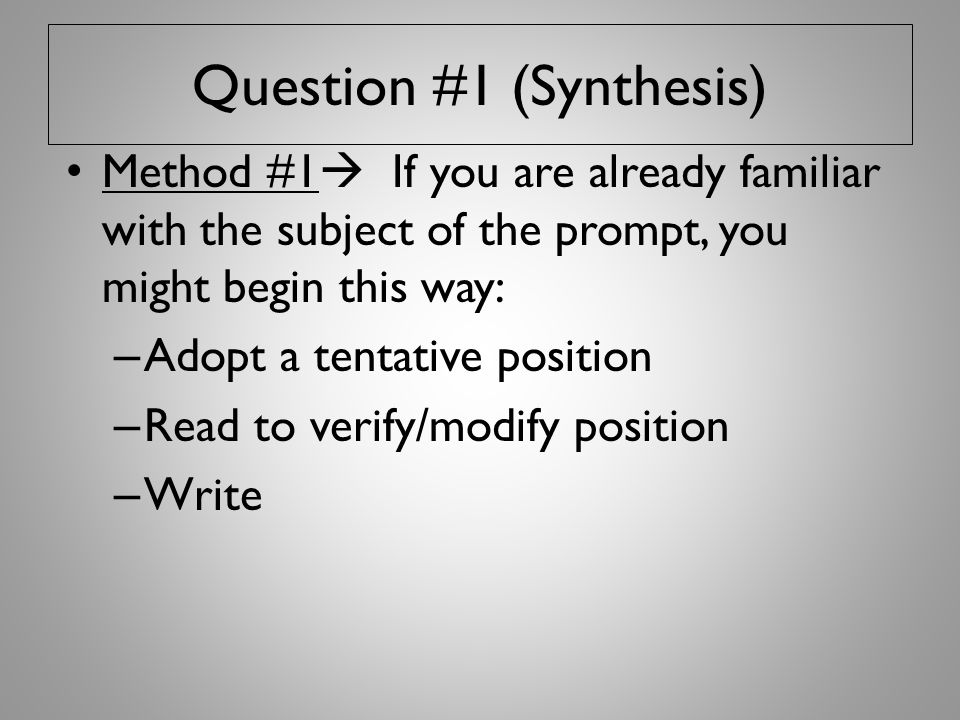 Question #1 (Synthesis)