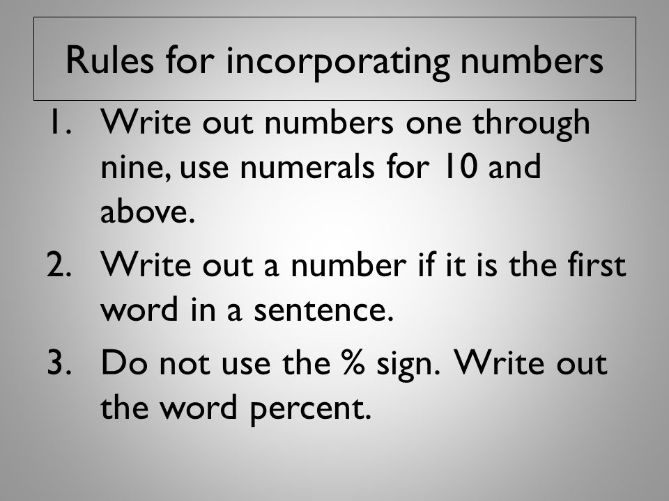 Rules for incorporating numbers