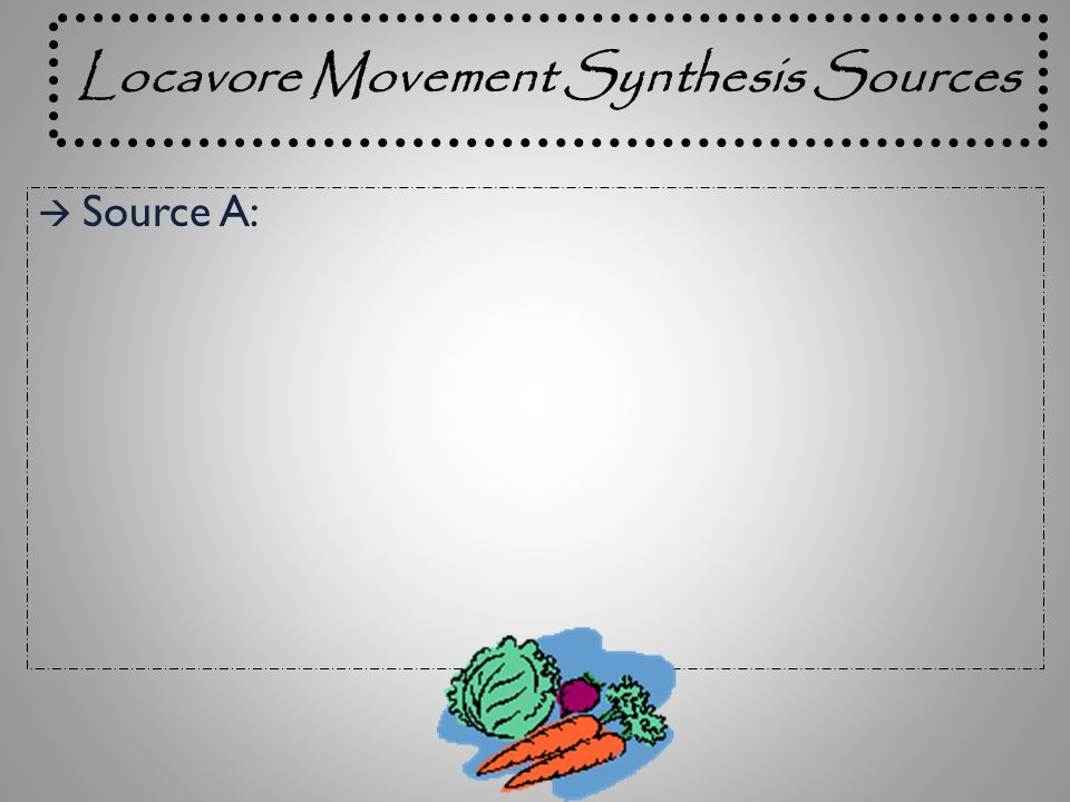 Locavore Movement Synthesis Sources