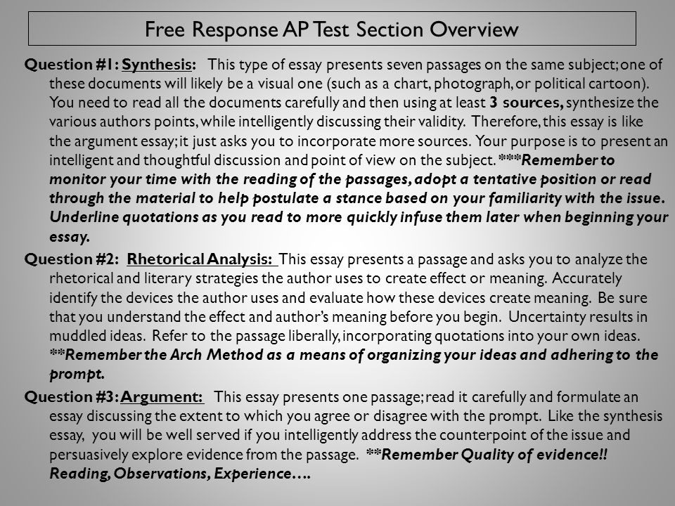 Free Response AP Test Section Overview
