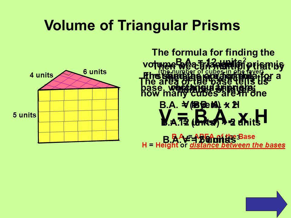 V = B.A. x H Volume of Triangular Prisms