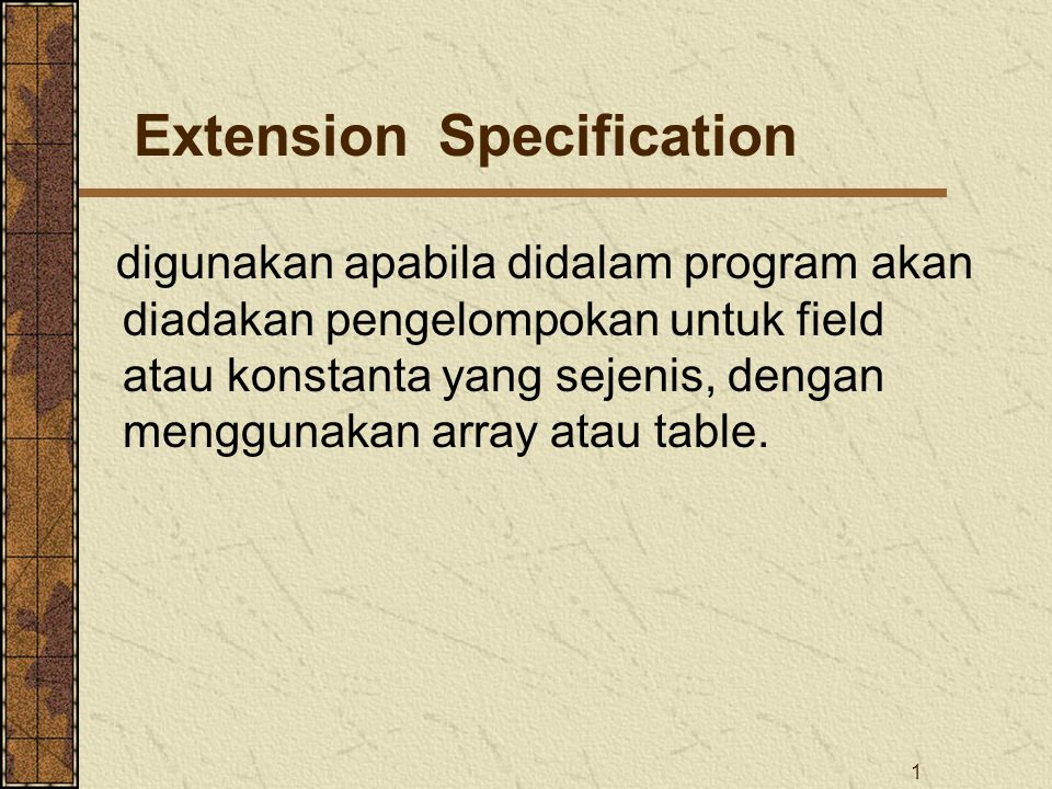 Extension Specification