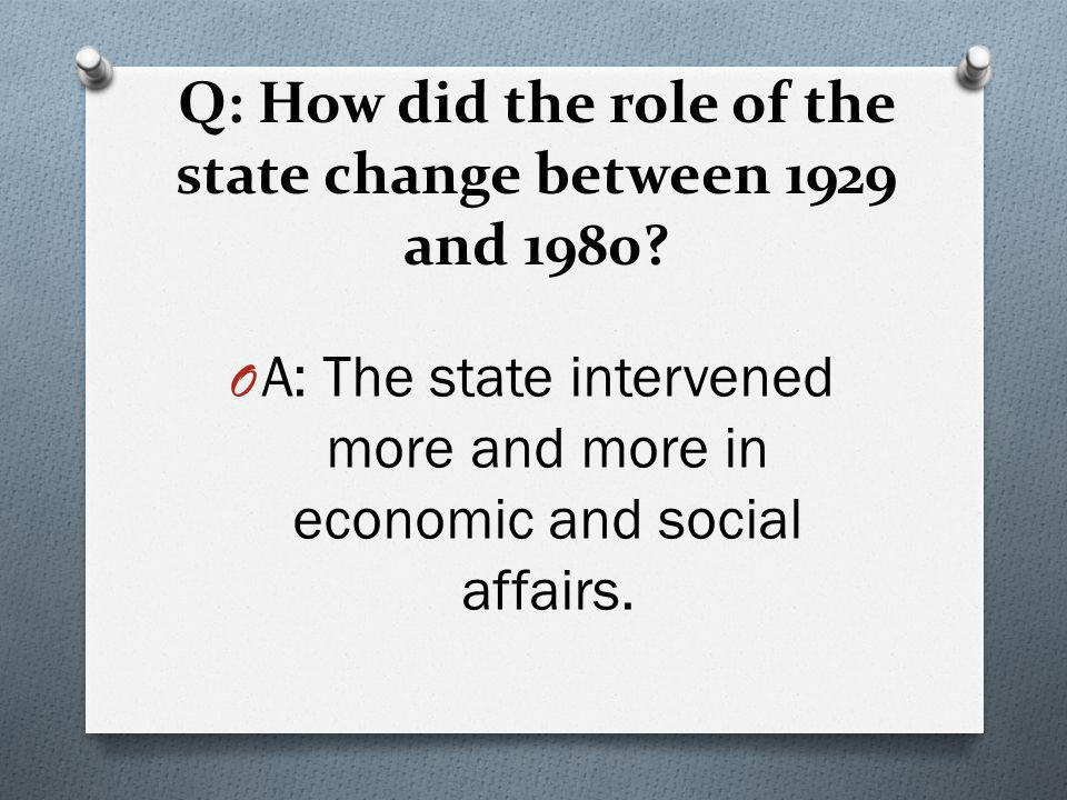 Q: How did the role of the state change between 1929 and 1980