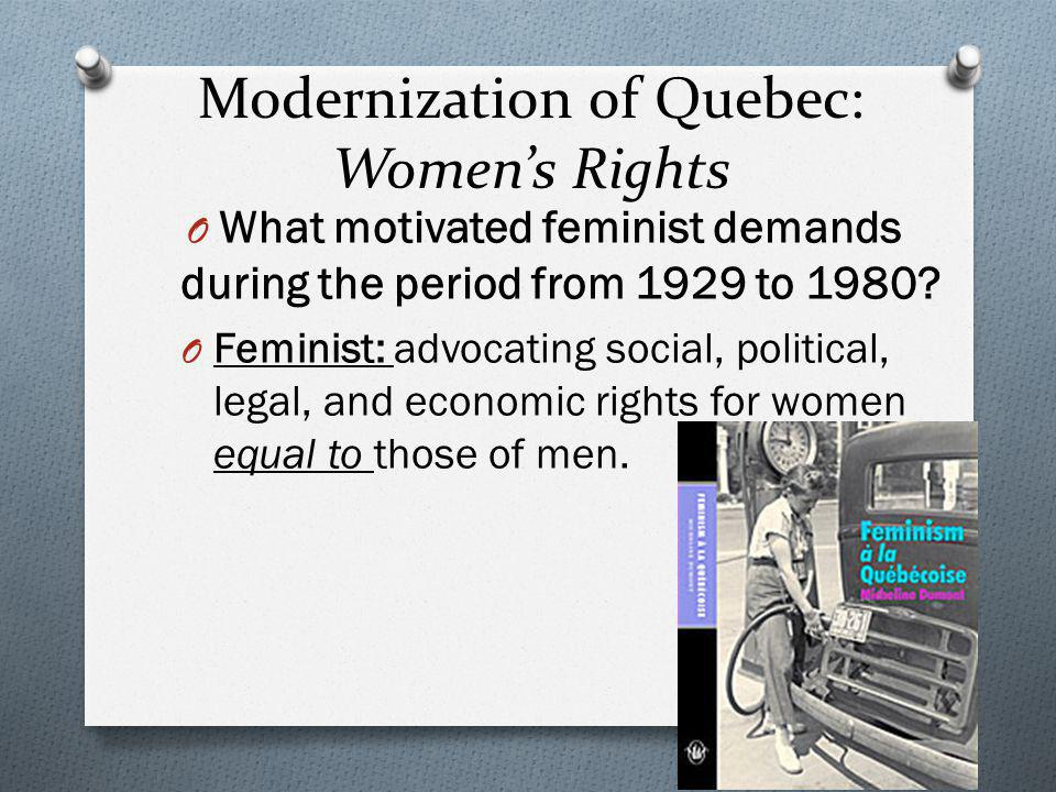 Modernization of Quebec: Women's Rights