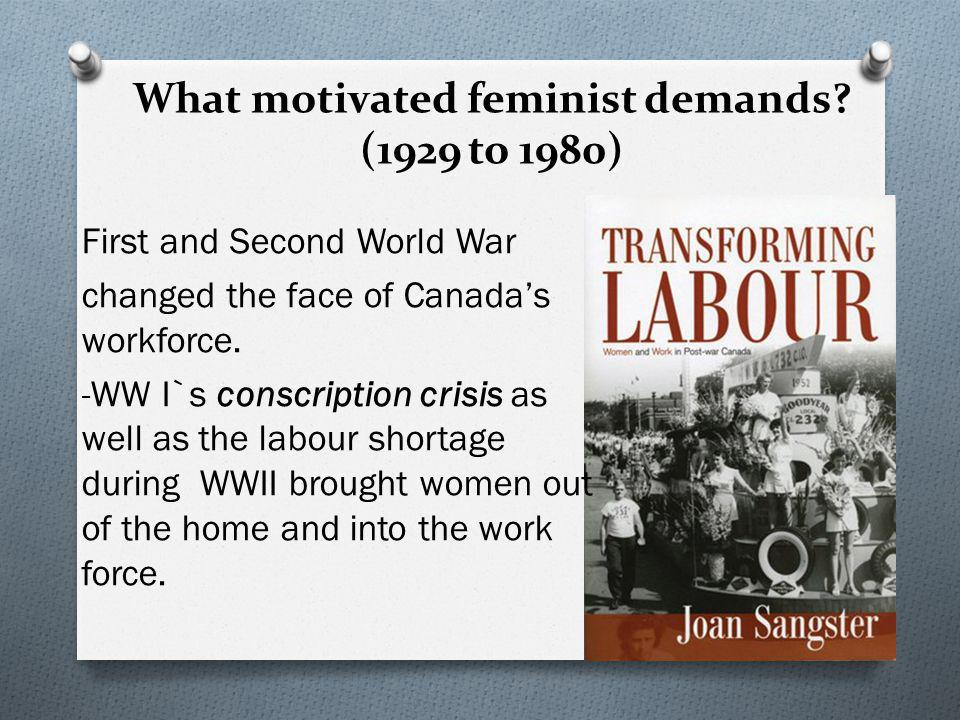 What motivated feminist demands (1929 to 1980)