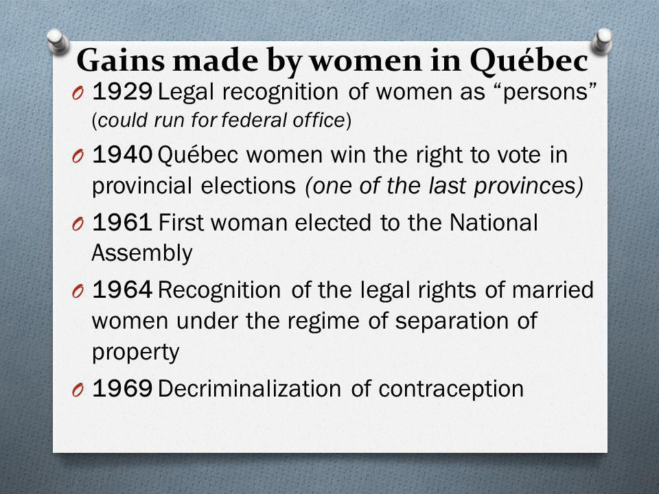 Gains made by women in Québec