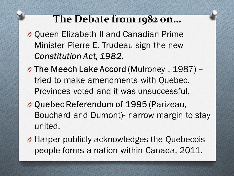 The Debate from 1982 on… Queen Elizabeth II and Canadian Prime Minister Pierre E. Trudeau sign the new Constitution Act, 1982.
