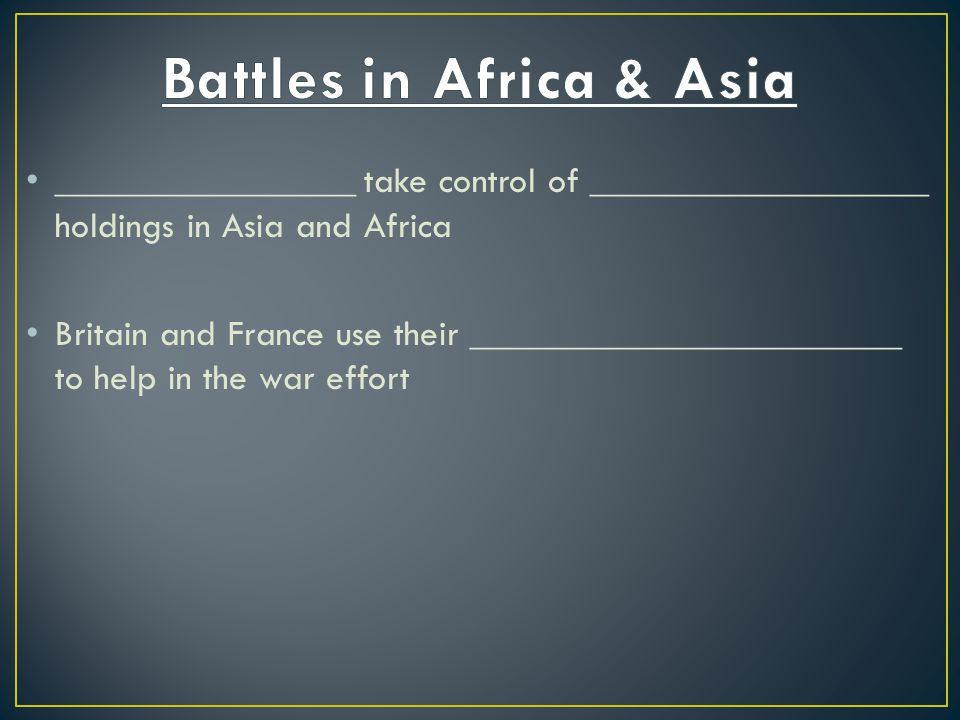 Battles in Africa & Asia