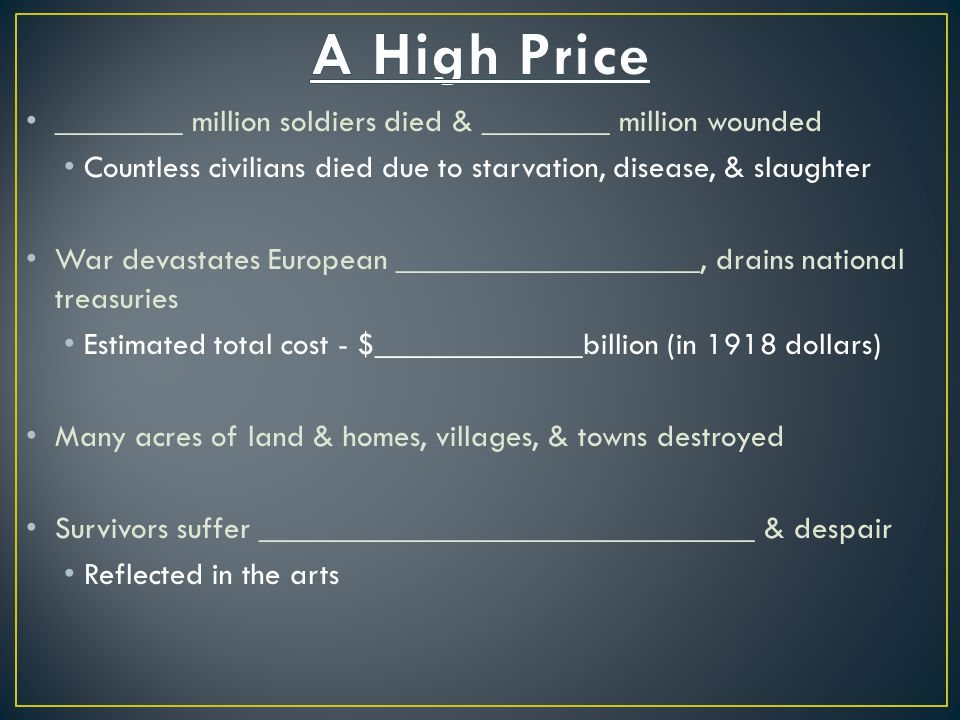 A High Price ________ million soldiers died & ________ million wounded