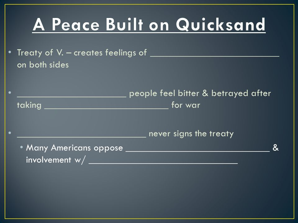 A Peace Built on Quicksand