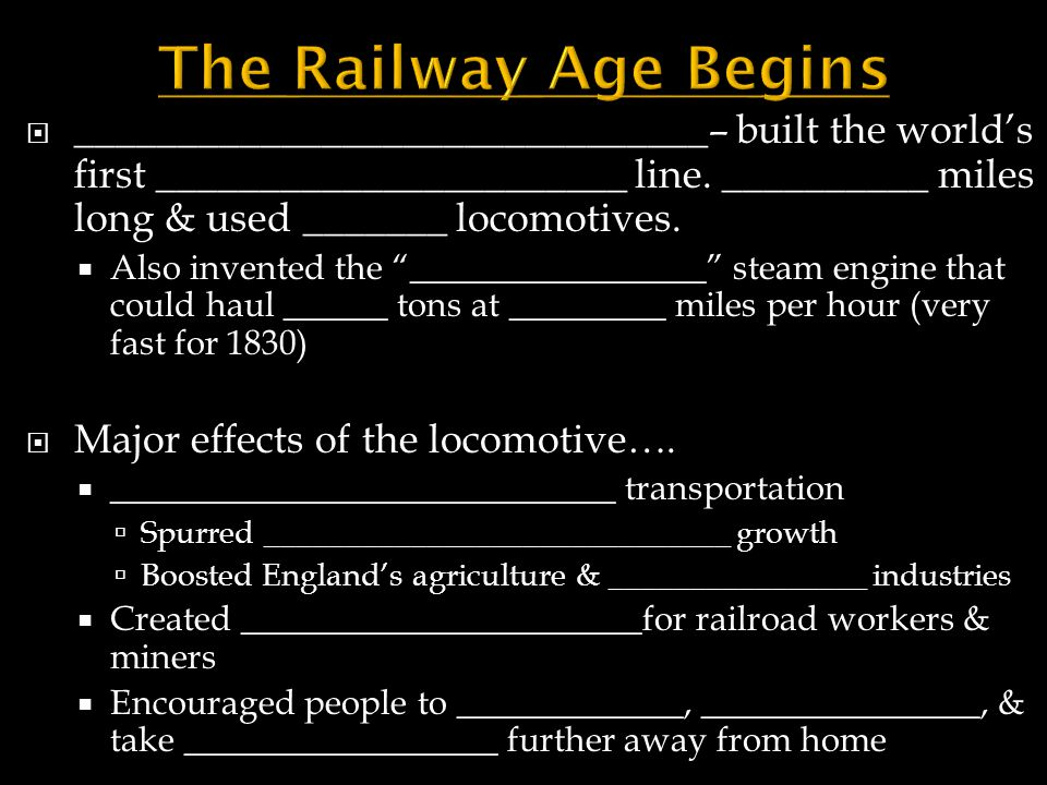 The Railway Age Begins