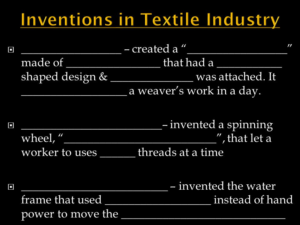 Inventions in Textile Industry
