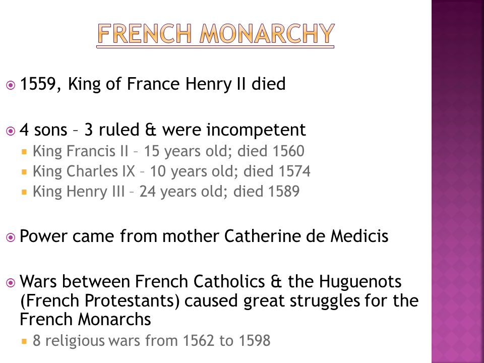 French Monarchy 1559, King of France Henry II died
