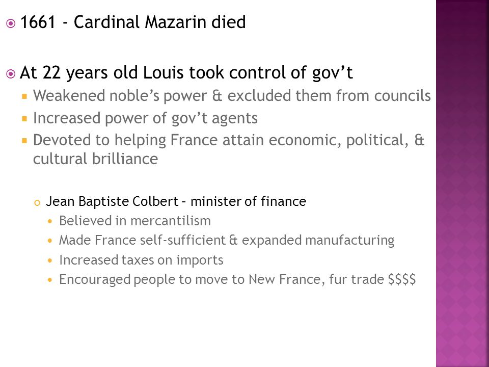 1661 - Cardinal Mazarin died