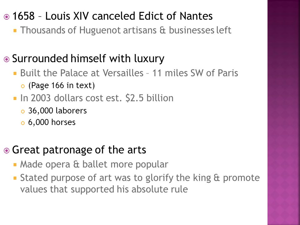 1658 – Louis XIV canceled Edict of Nantes