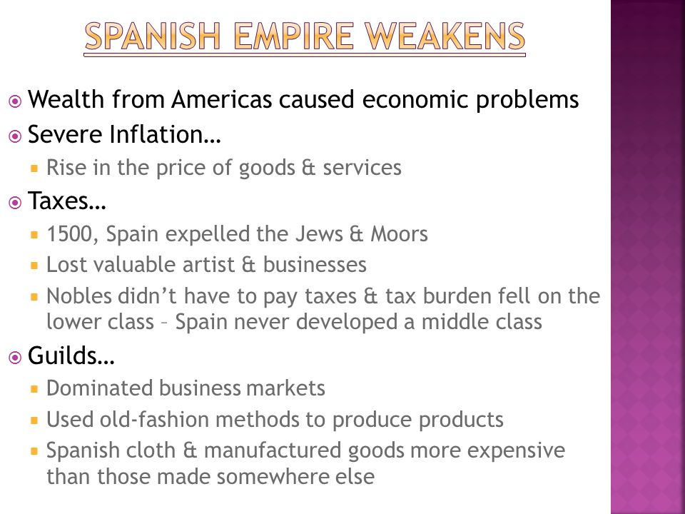 Spanish empire weakens