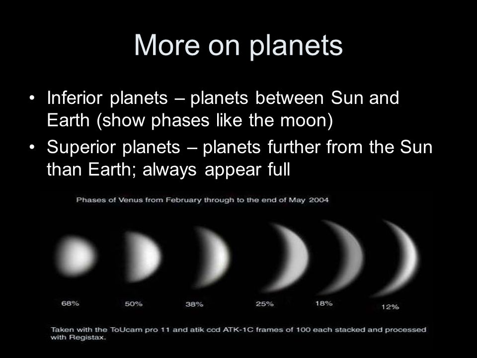 More on planets Inferior planets – planets between Sun and Earth (show phases like the moon)