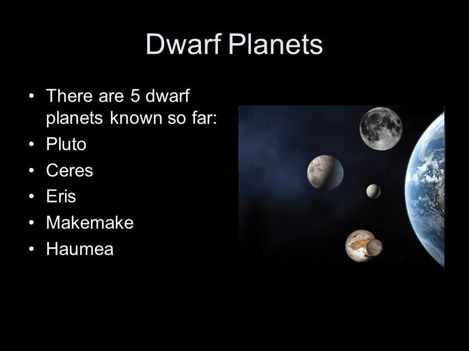 Dwarf Planets There are 5 dwarf planets known so far: Pluto Ceres Eris