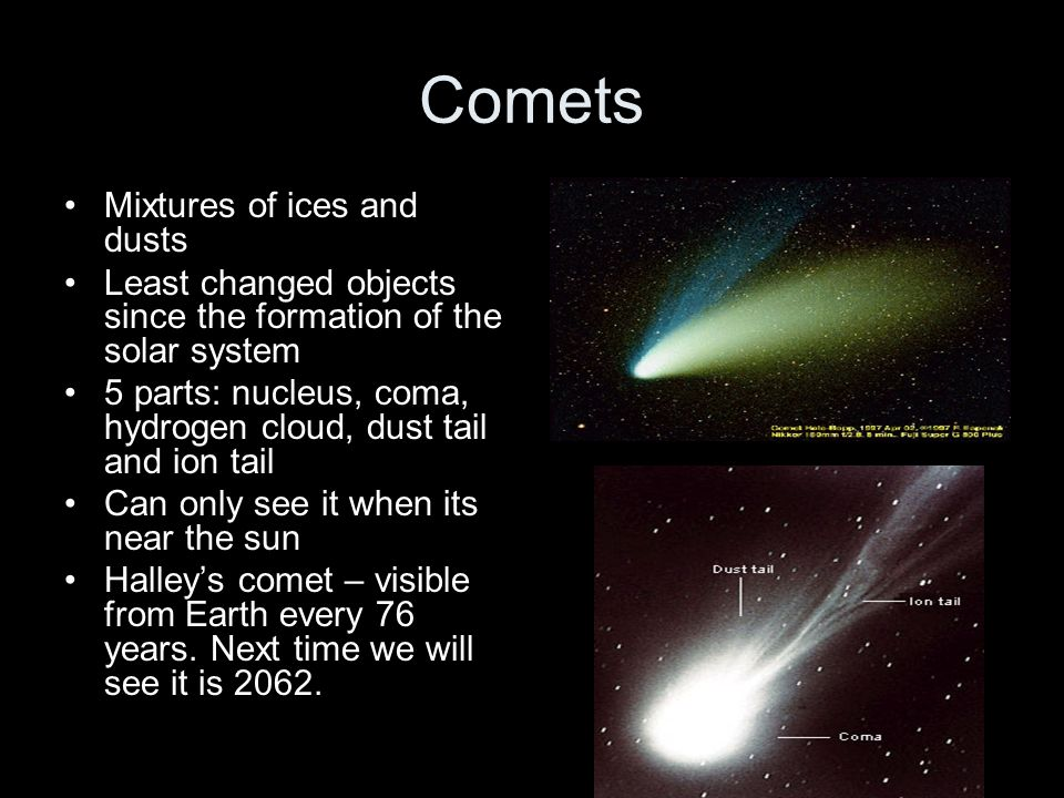 Comets Mixtures of ices and dusts