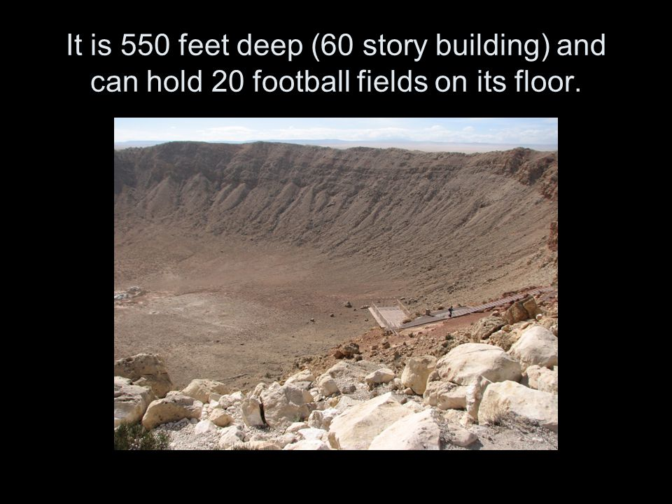 It is 550 feet deep (60 story building) and can hold 20 football fields on its floor.