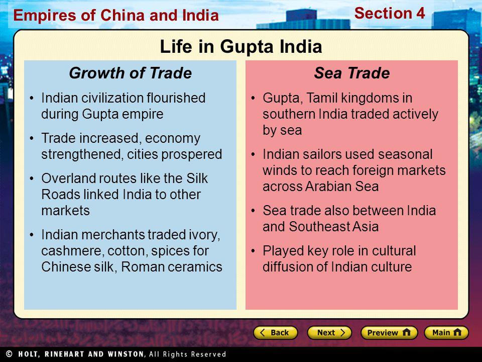 Life in Gupta India Growth of Trade Sea Trade