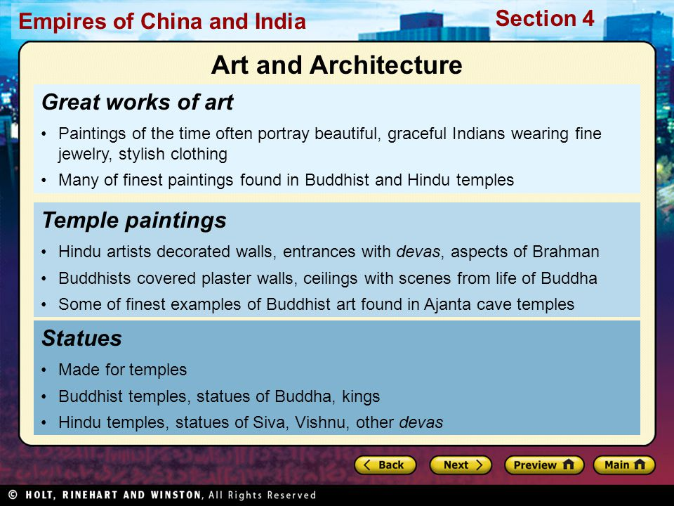 Art and Architecture Great works of art Temple paintings Statues