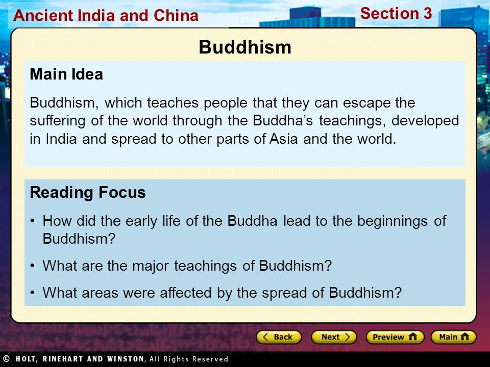 Buddhism Main Idea Reading Focus