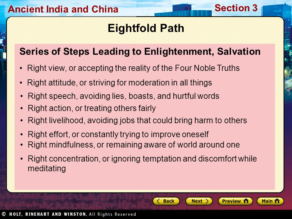 Eightfold Path Series of Steps Leading to Enlightenment, Salvation
