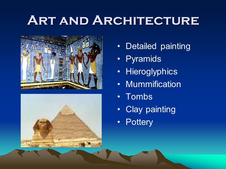 Art and Architecture Detailed painting Pyramids Hieroglyphics