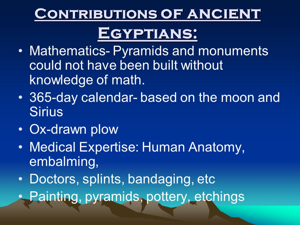Contributions of ancient Egyptians: