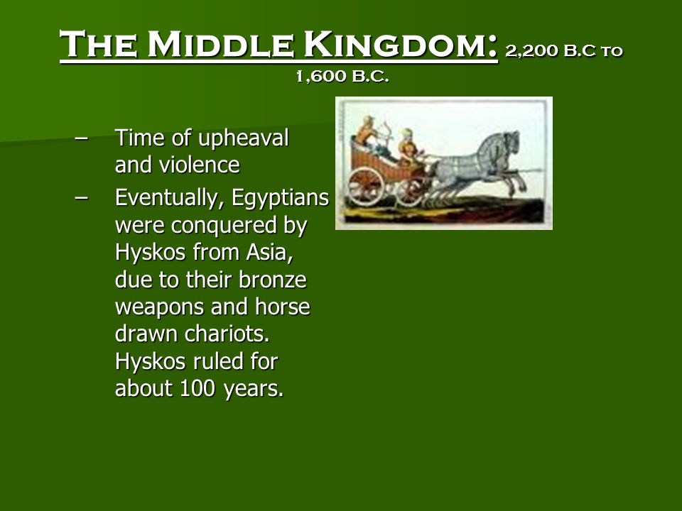 The Middle Kingdom: 2,200 B.C to 1,600 B.C.